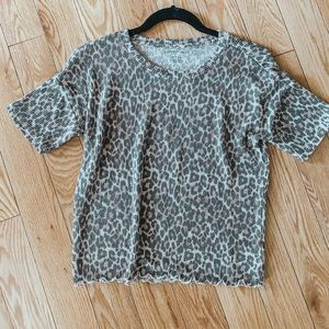 Leopard ribbed tee xs